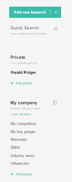 My company account and groups
